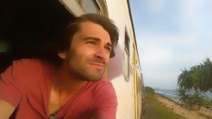 Sri Lanka train selfie out of the window, going along the beach