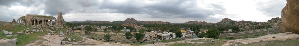 Hampi Panorama. Ruins, landscape, temple.
