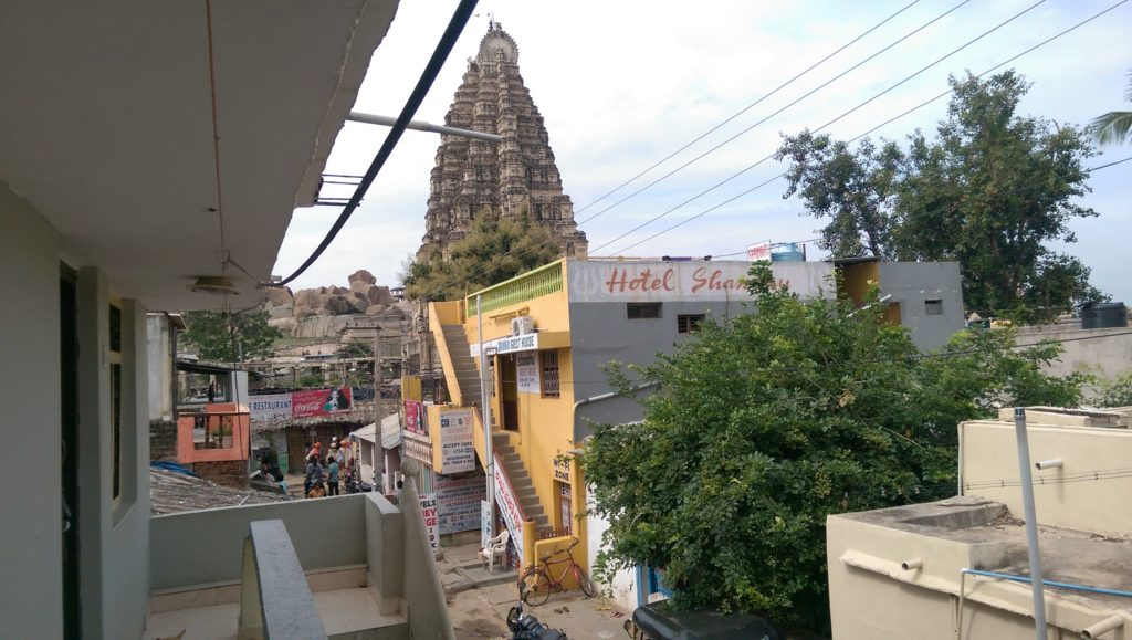 Hampi Bazaar. View from Guesthouse Towards Temple.